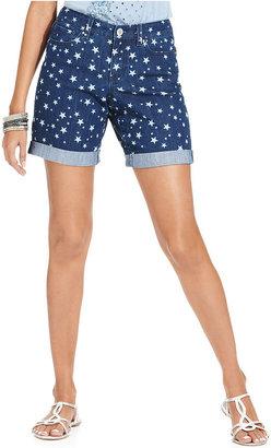 Style&Co. Shorts, Printed Denim Cuffed