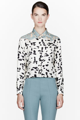 Chloé Off-white Brush Stroke Silk Blouse