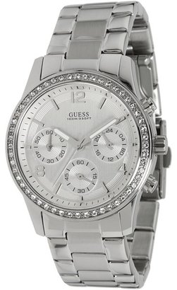 GUESS U13593L1 Feminine Contemporary Chronograph Watch (Polished Silver/Crystal/Sun Silver Dial) Chronograph Watches