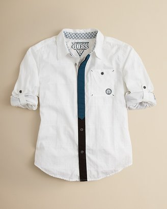 GUESS Boys' Long Sleeve Monochrome Plaid Button Front Shirt - Sizes S-XL
