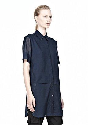 Alexander Wang Heathered Chiffon Short Sleeve Shirt