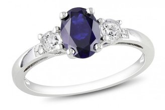 Ice 1 3/5 CT Blue and White Created Sapphire and Diamond 10K White Gold Ring