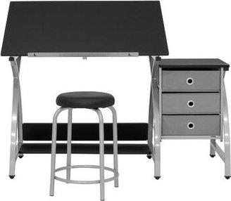 Studio Designs Center Comet Height Adjustable Drafting Table Frame Color: Silver, Top Color: Black