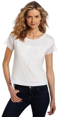 Kenneth Cole Women's Knit Tee with Paillette Detail