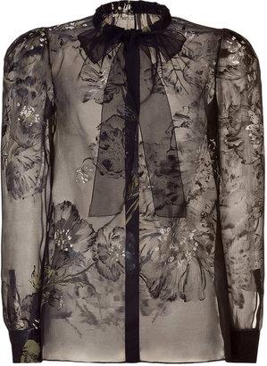 Valentino Black Floral Print Blouse