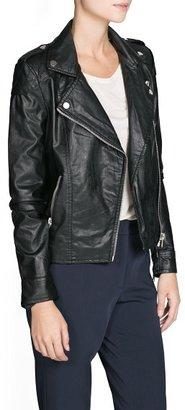 MANGO Faux-leather biker jacket
