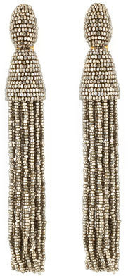 Oscar de la Renta Beaded Long Tassel Earrings, Champagne