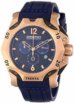Orefici Unisex ORM11C4804 Subacqueo Trenta -Tone Stainless Steel Dive Watch with Blue Rubber Band