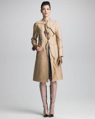 Chado Ralph Rucci Crack-Print Cashmere Coat