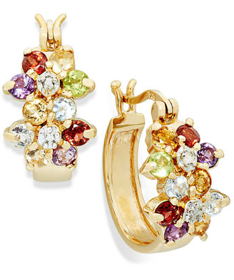 Townsend Victoria 18k Gold over Sterling Silver Earrings, Multi-Stone (2-1/4 ct. t.w.) and Diamond Accent Hoop Earrings