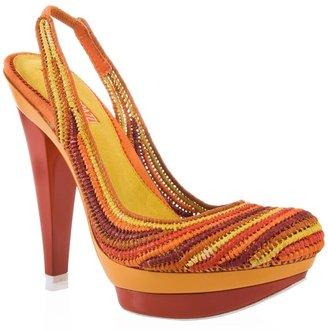Claudio Merazzi Raphia double platform shoe