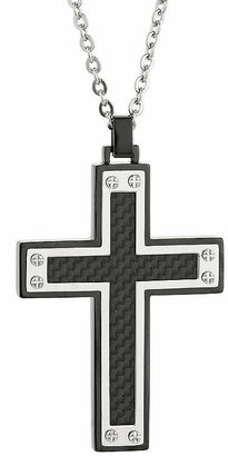 FINE JEWELRY Mens Stainless Steel & Black IP w/Carbon Fiber Inlay Cross Pendant Necklace