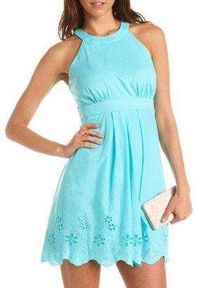 Charlotte Russe Embroidered Halter A-Line Dress