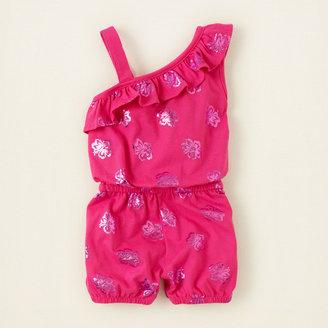 Children's Place One-shoulder foil print romper