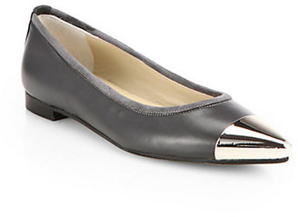 Saks Fifth Avenue 10022-SHOE Leather Cap-Toe Flats
