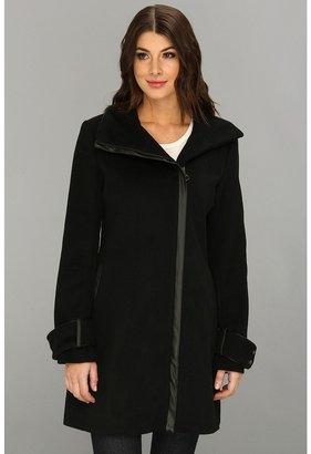 Calvin Klein Wool Blend Funnel Collar Coat w/ Faux Leather Trim CW280147 Women's Coat