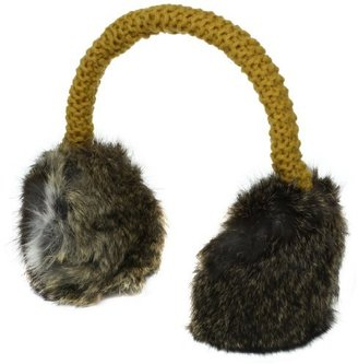 Hat Attack Women's Knit Earmuffs with Rabbit Fur