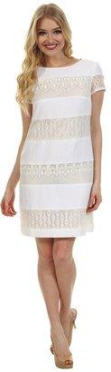 Donna Morgan Striped Linen-Lace Sheath Dress (White/Ivory) - Apparel