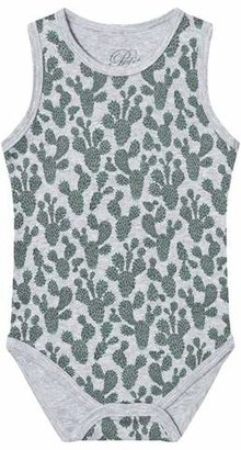 Petit by Sofie Schnoor Green and Grey Cactus Print Tank Baby Body