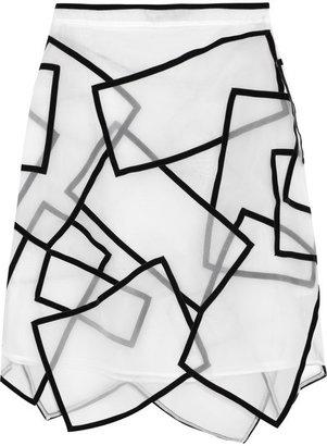 Christopher Kane Paneled velvet-trimmed silk-voile skirt
