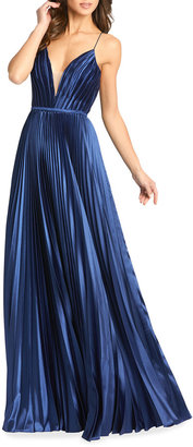 Mac Duggal V-Neck Pleated Satin A-Line Gown