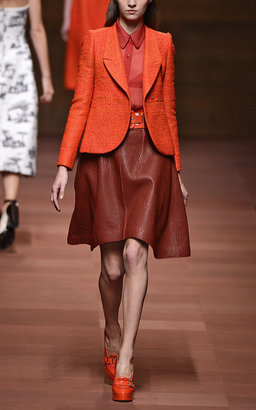 Carven Grained Leather Skirt