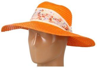 BCBGeneration Lacey Weave Floral Floppy Hat (Sand) - Hats