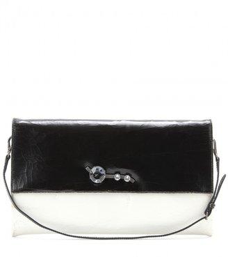 Miu Miu Crystal-embellished cracked-leather clutch