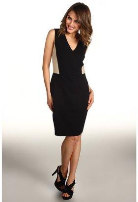 DKNY DKNYC - Sleeveless V-Neck Dress w/ Lace (Black) - Apparel