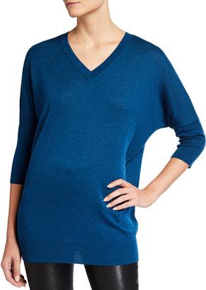 Neiman Marcus Superfine V-Neck Cashmere Dolman Sweater
