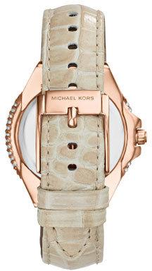 Michael Kors Mini Rose Golden/White Camille Three-Hand Glitz Watch