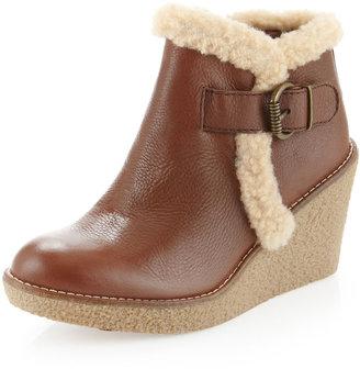 Sam Edelman Jayla Faux-Fur-Trim Wedge Bootie, Saddle