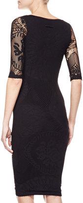Jean Paul Gaultier 3/4-Sleeve Square Neck Dress, Black