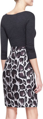 Paule Ka Combo Dress with Jersey Top & Leopard Skirt, Gray/Brown/Multi