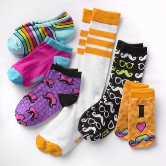 Pink Cookie 6-pk. moustache socks - girls