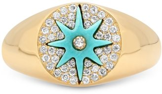 THE ALKEMISTRY Colette 18ct Yellow Gold Turquoise And Diamond Star Pinky Ring