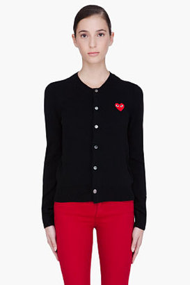 Comme des Garcons Black Wool Heart Cardigan