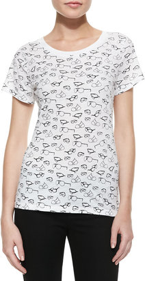French Connection Sonny Slub Sunglasses Print Tee, White/Black