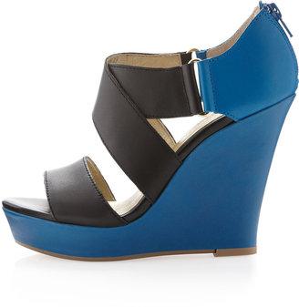 Seychelles Lastbutnotleast Two-Tone Wedge Sandal, Black/Blue