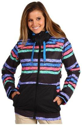 Roxy Valley 8K Insulated Hoodie Jacket (Stripe Jacquard/Black) - Apparel