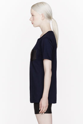 Alexander Wang Navy Supima & Leather Pocket t-shirt