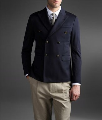 Emporio Armani Double-Breasted Jacket In Lisle Jersey