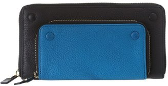 Vince Camuto Mikey Zip Around Checkbook Wallet (Black/Peacoc) - Bags and Luggage