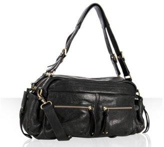 Sorial black leather pocket detail satchel