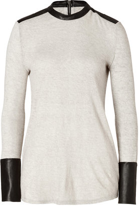 Helmut Lang Wool-Angora Blend Pullover with Leather in Mute/Black