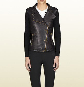 Gucci Knit Detail Biker Jacket