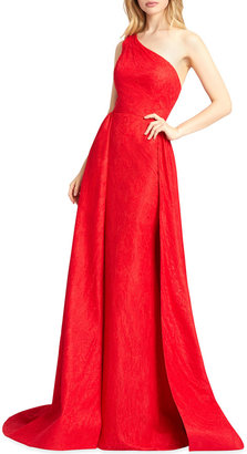 Mac Duggal One-Shoulder Lace Column Gown with Overskirt