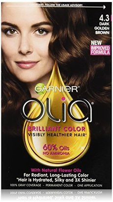 Garnier Olia Oil Powered Permanent Hair Color, 4.3 Dark Golden Brown (Packaging May Vary) $9.99 thestylecure.com