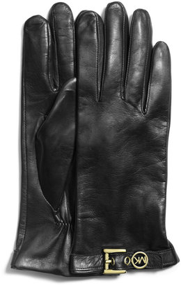 Michael Kors Logo-Buckle Leather Gloves