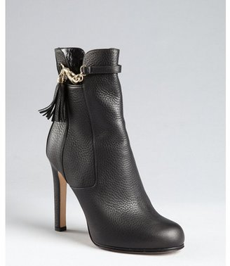 Gucci black pebbled leather ankle boots